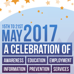 Image with text saying 15th to 21 May 2017 A celebration of awareness, education, employment, information, prevention, services