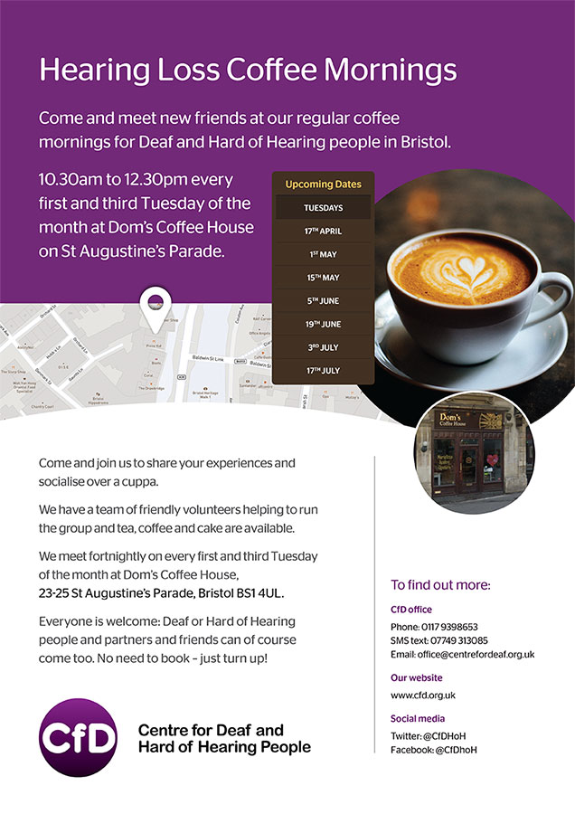 Flyer for hearing loss coffee mornings