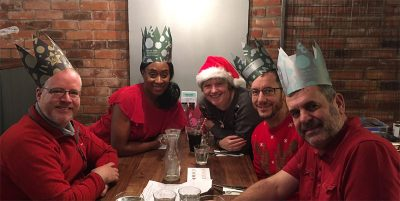 Photo of the five members of CfD team in Xmas hats
